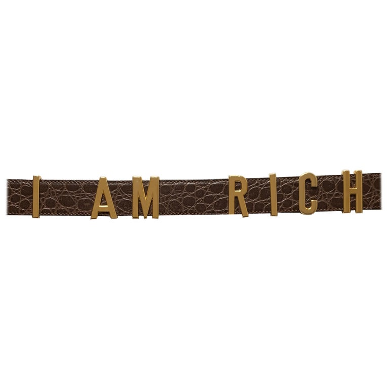 1990s Moschino Redwall Belt I Am Rich in Gold Letters on Brown Embossed Leather For Sale