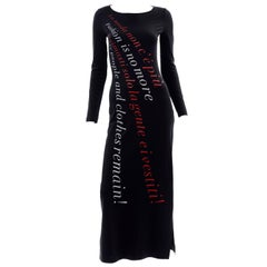 1990s Moschino Vintage Bodycon Fashion Is No More Red & Black Statement Dress