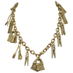1990's Moschino Vintage Chain Necklace with Padlock, Cutlery Charms