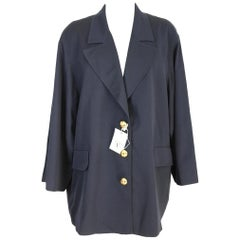 1990s New Valentino Blue Wool Cape Coat Jacket Golden Buttons
