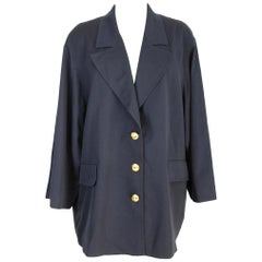 1990s New Valentino Blue Wool Golden Buttons Cape Coat Jacket