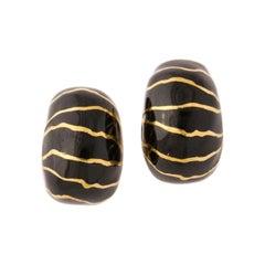 1990's Nicholas Varney Black Enamel and Gold Animal Print Motif Clip On Earrings