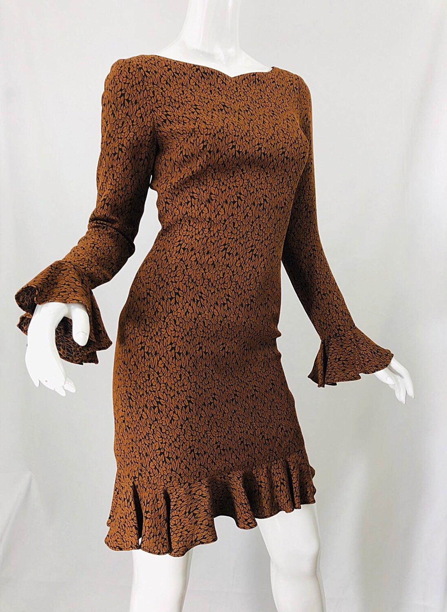 1b469e1750e5d 1990s Nicole Miller Leaf Print Brown Size 4 Bell Sleeve Vintage 90s Dress  For Sale at 1stdibs
