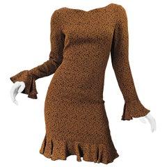 1990s Nicole Miller Leaf Print Brown Size 4 Bell Sleeve Vintage 90s Dress