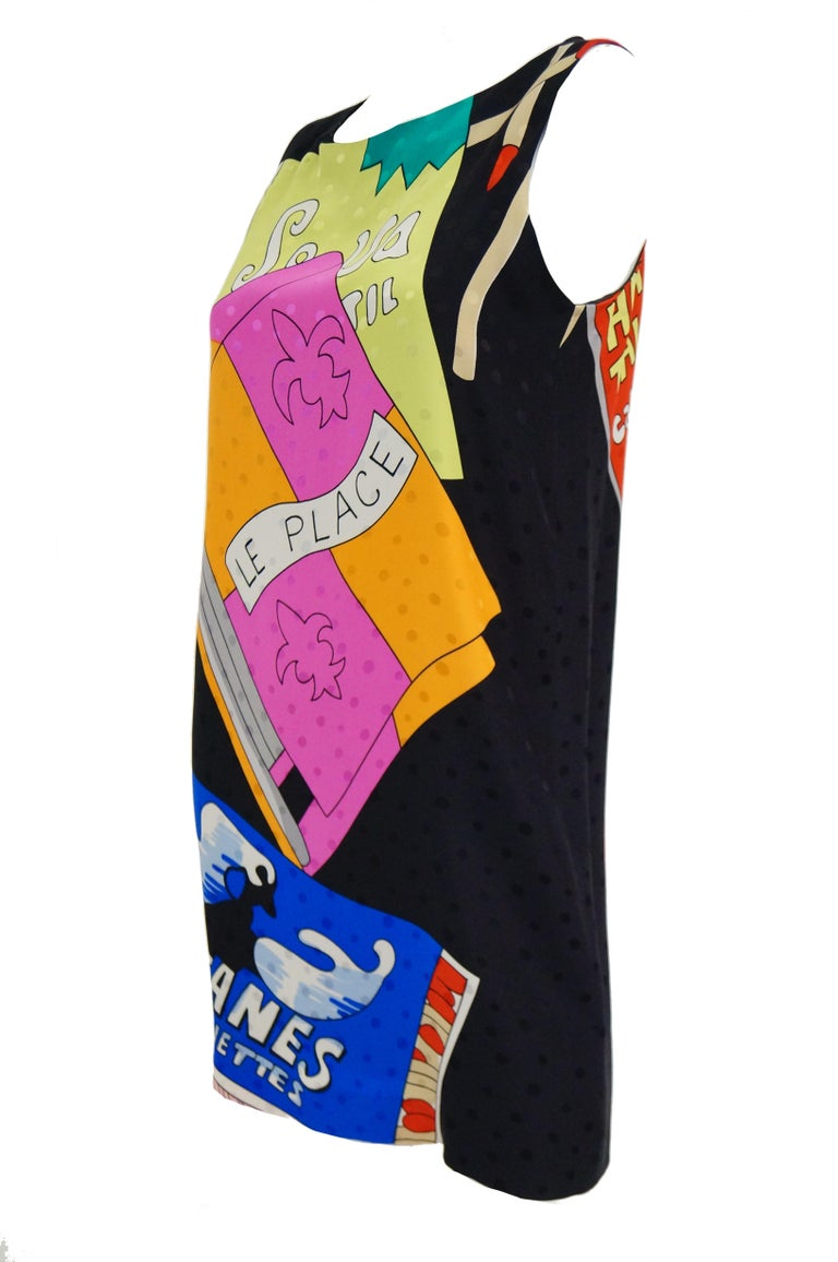 Beige 1990s Nicole Miller Silk Pop Art Advertisement Shift Dress For Sale