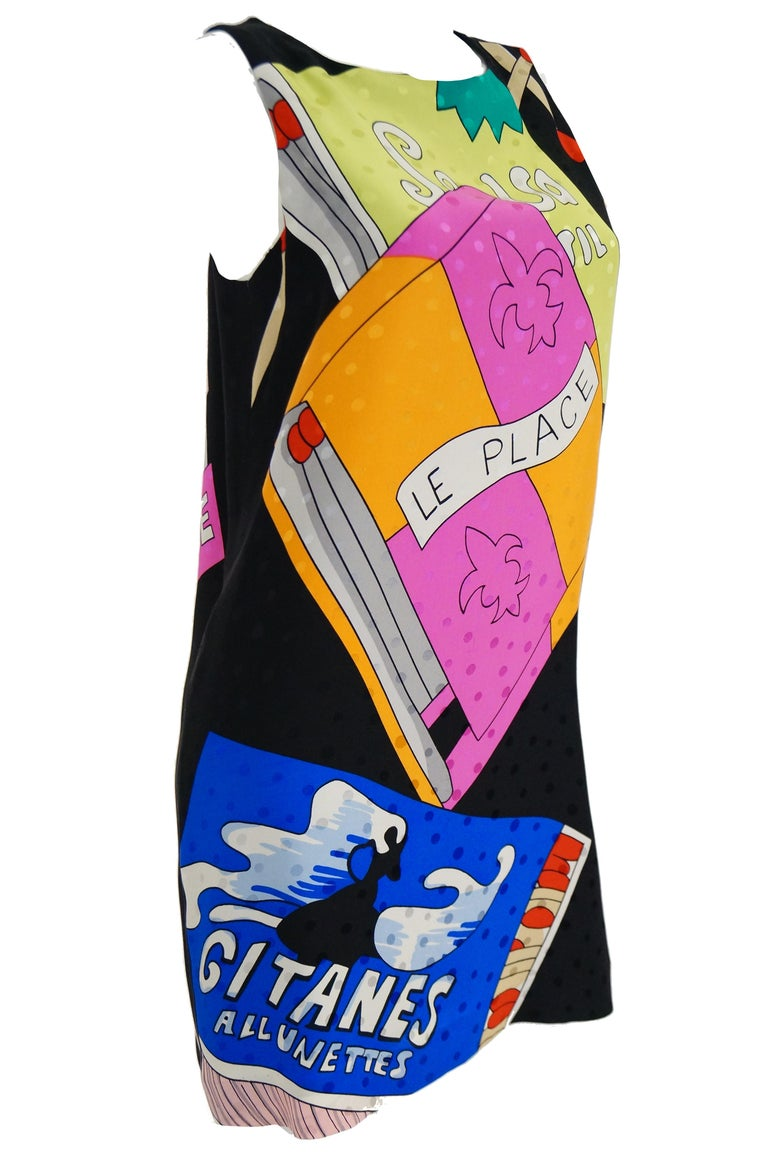 1990s Nicole Miller Silk Pop Art Advertisement Shift Dress In Good Condition For Sale In Houston, TX