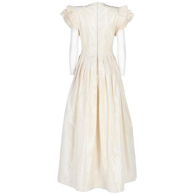 Beige 1990s Nina Ricci Silk Wedding Dress For Sale