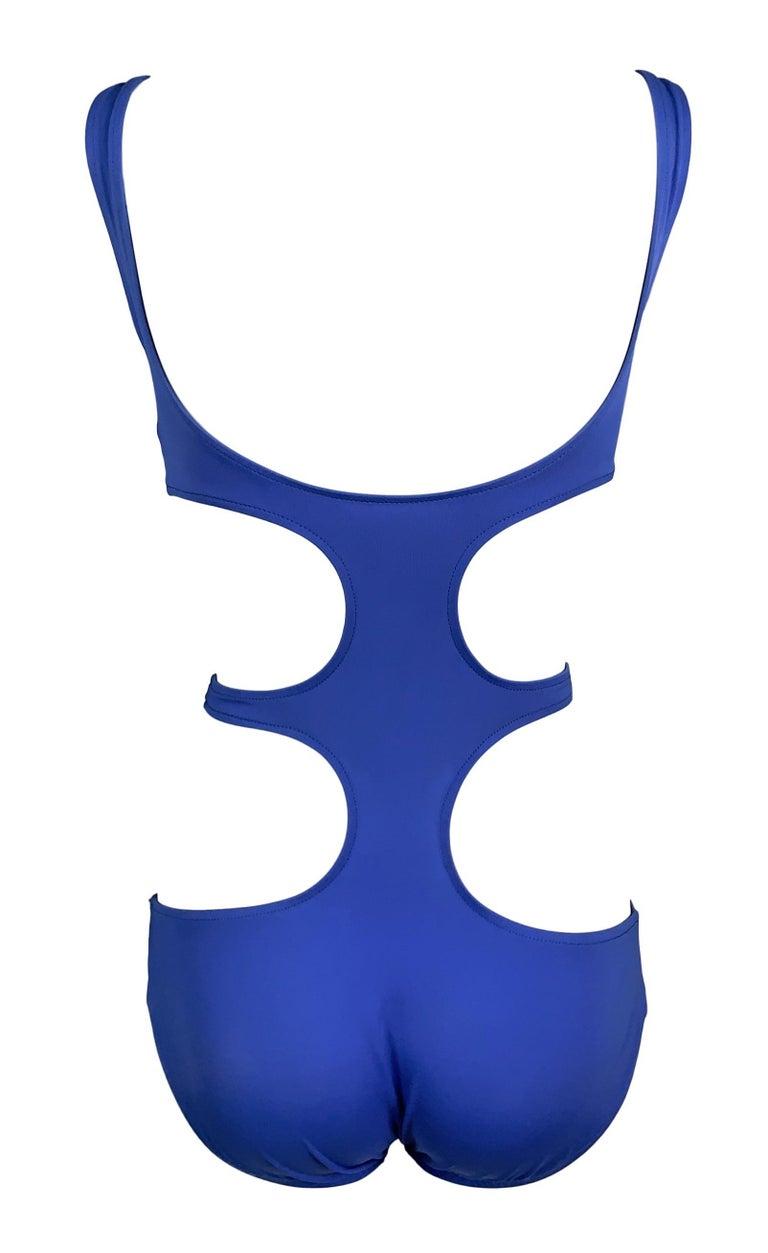 1990's Norma Kamali Blue Cut-Out Monokini Swimsuit Swimwear In Good Condition For Sale In Yukon, OK