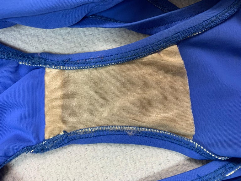 1990's Norma Kamali Blue Cut-Out Monokini Swimsuit Swimwear For Sale 1