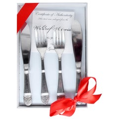1990s NYC Waldorf Astoria Hotel 8-Piece Fish Flatware Gift Set Art Deco Styling