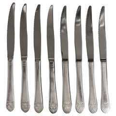 1990s NYC Waldorf Astoria Hotel Art Deco Eight Piece Serrated Steak Knife Set