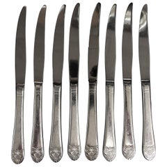 1990s NYC Waldorf Astoria Hotel Lightly Serrated Art Deco Steak Knife Set