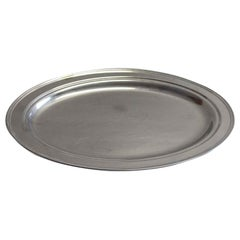 1990s NYC Waldorf Astoria Hotel Oval Stainless Steel Tray