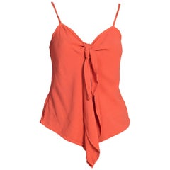1990s Orange Ghost Rayon Crepe Knot Bow Cami Top