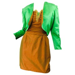 1990s Orange + Green + Gold Silk Shantung Vintage 90s Strapless Dress + Bolero