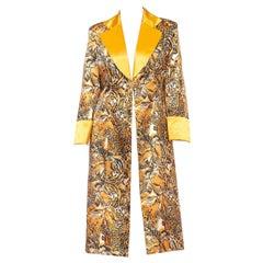 1990S Orange Tiger & Leopard Print Poly Acetate Satin Long Jacket