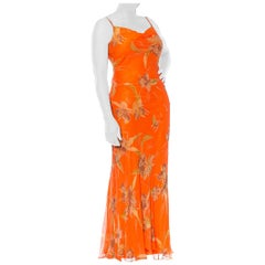 1990S  Orange Tropical Floral Silk Chiffon Bias Cut Beaded Dress