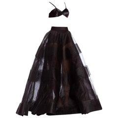 1990'S OSCAR DE LA RENTA Black Nylon Tulle & Horsehair Massive Ball Gown Crinol