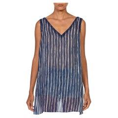 1990S OSCAR DE LA RENTA Blue & White Embroidered Silk Shell Top