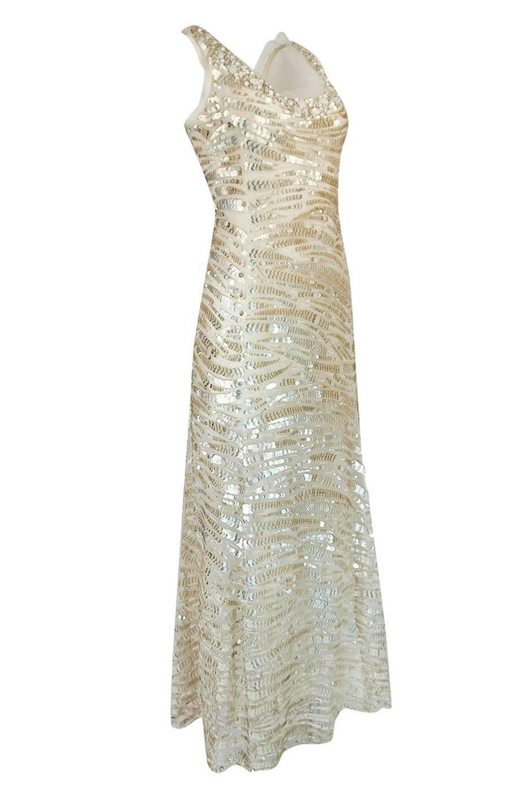 Gray 1990s Oscar de la Renta Gold Sequin & Beadwork Dress on Silk Net For Sale