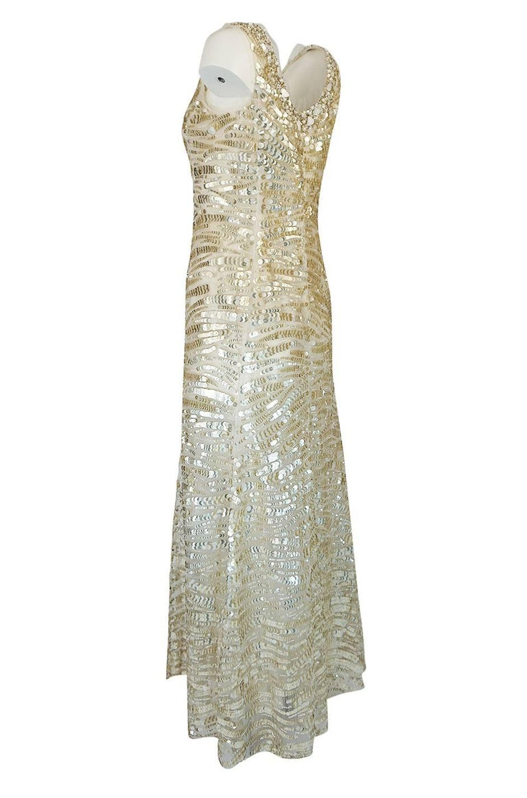 Women's 1990s Oscar de la Renta Gold Sequin & Beadwork Dress on Silk Net For Sale