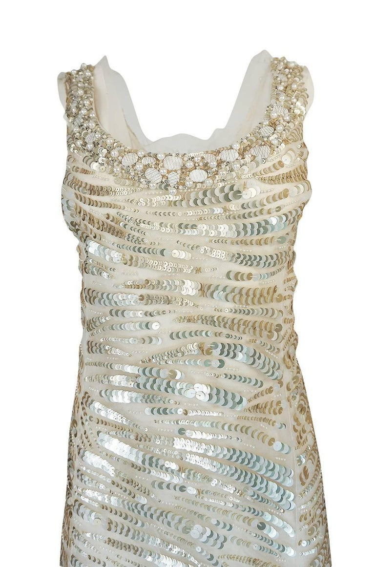 1990s Oscar de la Renta Gold Sequin & Beadwork Dress on Silk Net For Sale 1