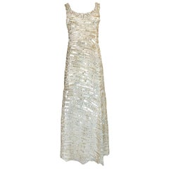 1990s Oscar de la Renta Gold Sequin & Beadwork Dress on Silk Net