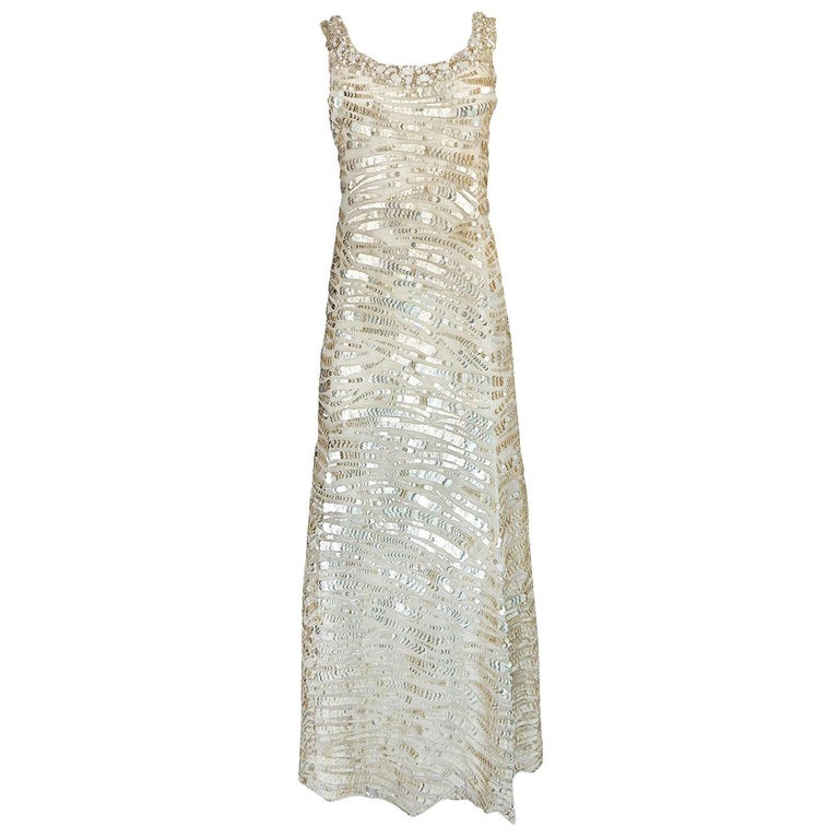 1990s Oscar de la Renta Gold Sequin & Beadwork Dress on Silk Net For Sale