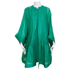 1990s Oscar De La Renta Green Silk Gazar Coat with Silk Dress 2pcs
