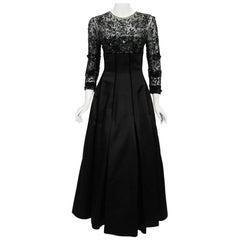 1990's Oscar de la Renta Sequin Sheer Illusion Black Duchess Silk Satin Gown