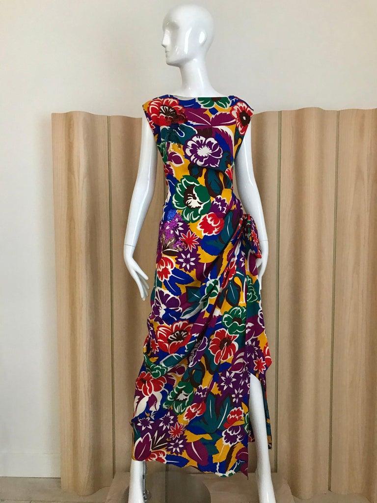 1990s Oscar De La RENTA Silk Rayon  Multi Color Print Floral Cocktail Dress For Sale 5