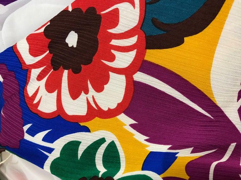 1990s Oscar De La RENTA Silk Rayon  Multi Color Print Floral Cocktail Dress For Sale 6