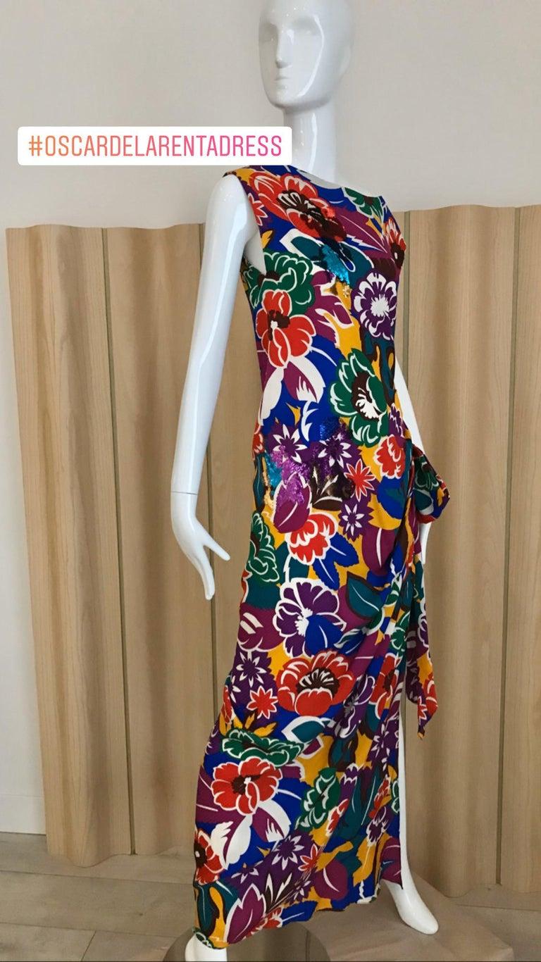 1990s Oscar De La RENTA Silk Rayon  Multi Color Print Floral Cocktail Dress For Sale 7