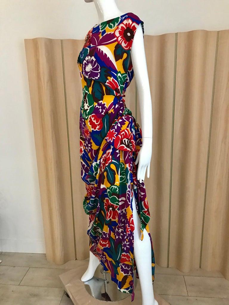 Black 1990s Oscar De La RENTA Silk Rayon  Multi Color Print Floral Cocktail Dress For Sale