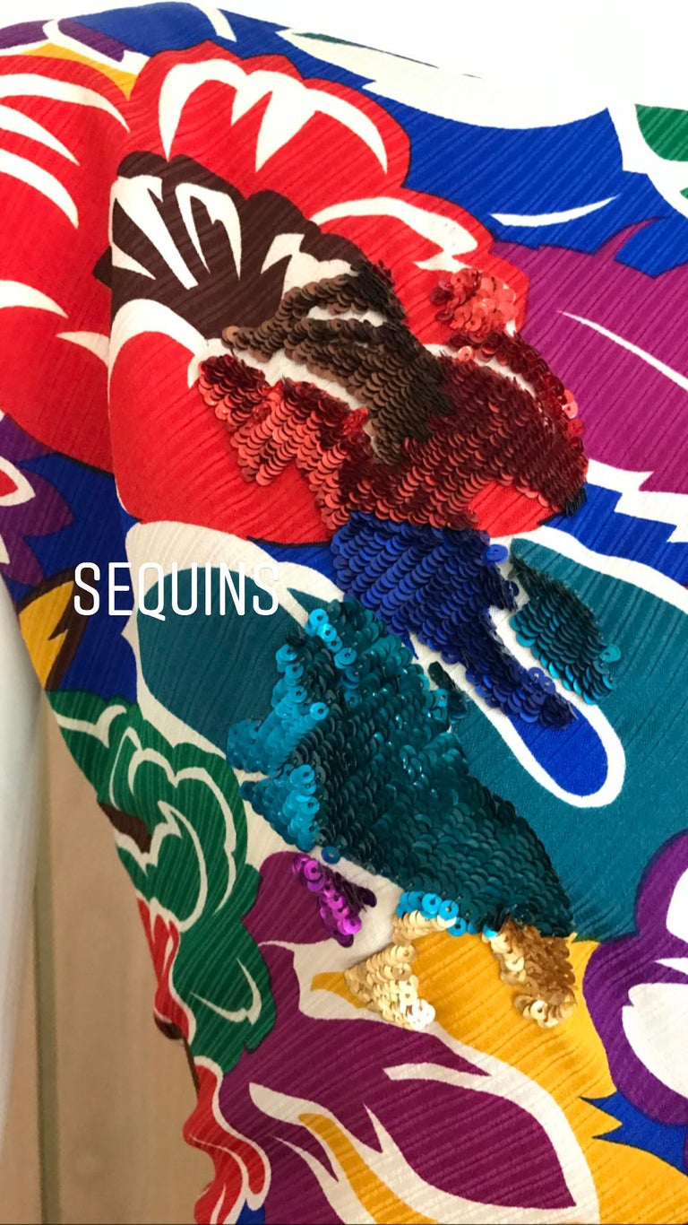 1990s Oscar De La RENTA Silk Rayon  Multi Color Print Floral Cocktail Dress For Sale 1