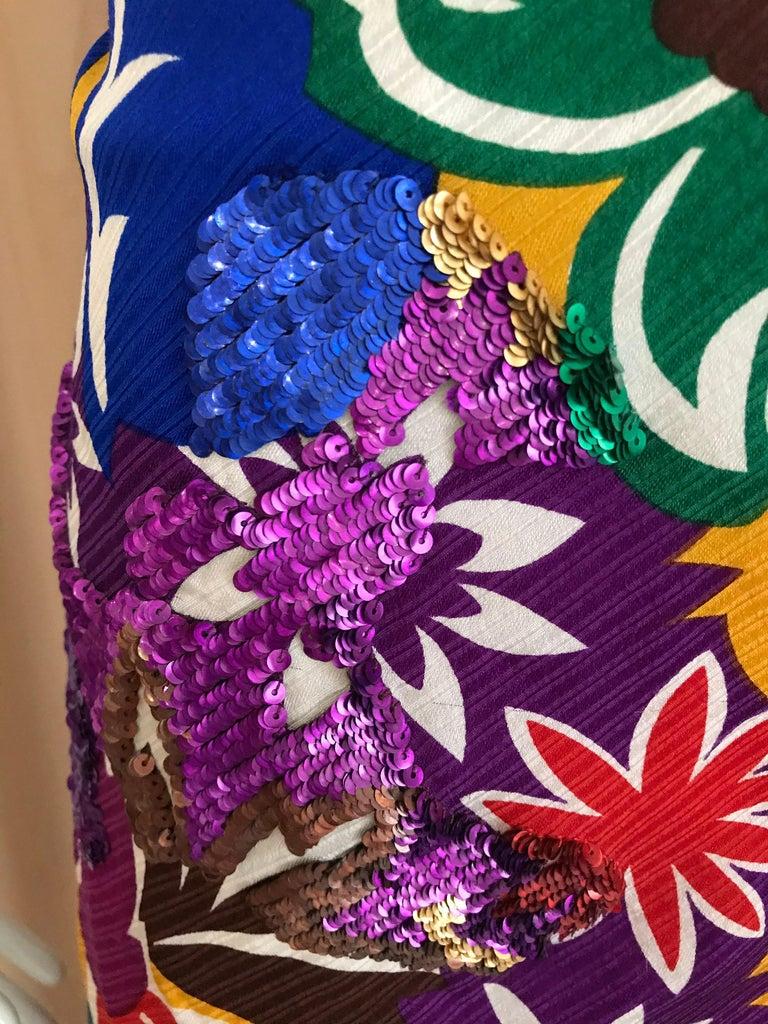 1990s Oscar De La RENTA Silk Rayon  Multi Color Print Floral Cocktail Dress For Sale 3