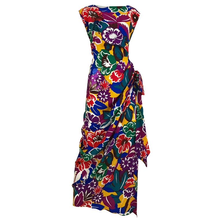 1990s Oscar De La RENTA Silk Rayon  Multi Color Print Floral Cocktail Dress For Sale