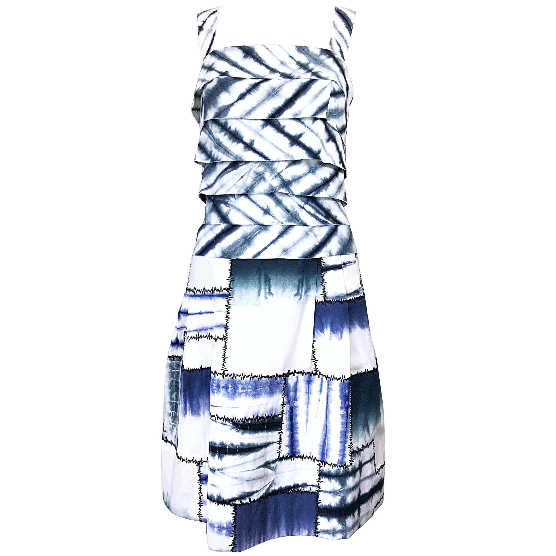 Oscar de la Renta 1990s Size 8 Blue + White Tie Dye Vintage Sleeveless 90s Dress