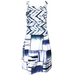 Oscar de la Renta 1990s Size 8 Blue + White Tie Dye Vintage Sleeveless 90s Dress