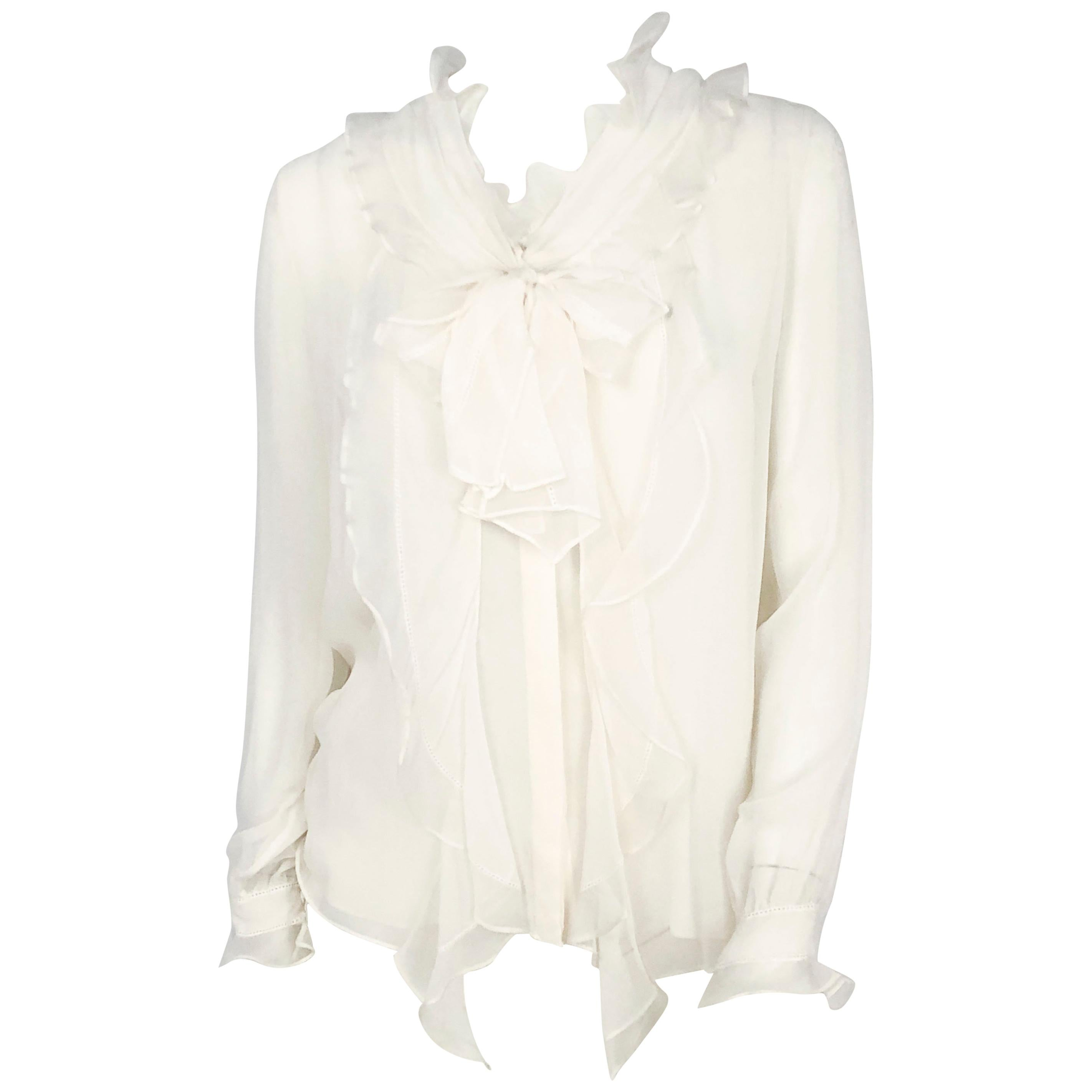e20d2c289297af Ruffled White Blouses - 56 For Sale on 1stdibs