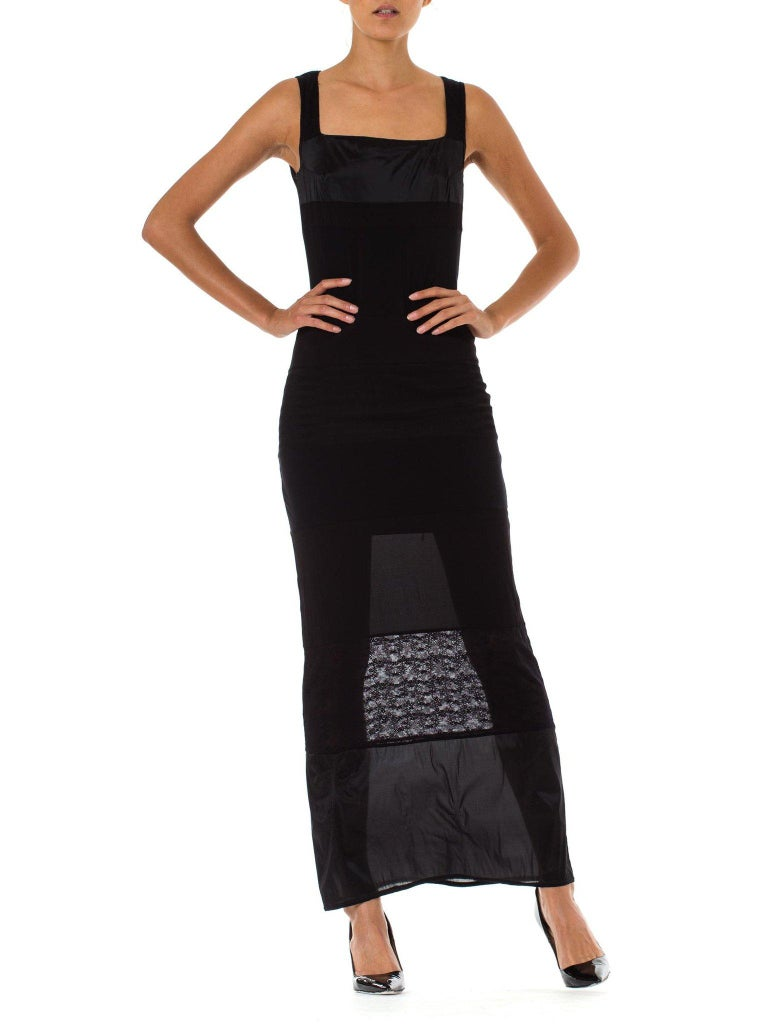 1990S OZBEK Black Sheer Poly/Lycra Minimalist Patchwork Dress In Excellent Condition For Sale In New York, NY