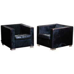 1990s Pair Black Rodolfo Dordoni for Minotti Lounge Chairs in Pony and Leather