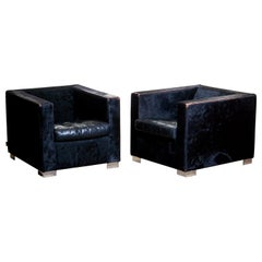 1990s Pair of Black Rodolfo Dordoni for Minotti Club Chairs in Pony and Leather