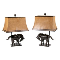 1990s Pair of Bronze Horse Figure Table Lamps with Shade