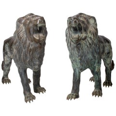 1990s Pair of Bronze Standing Lions with Open Mouths
