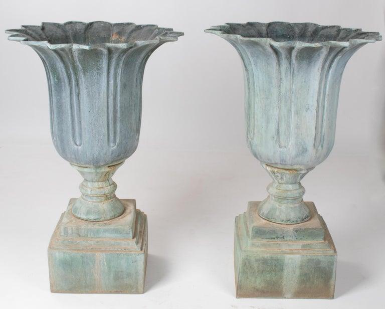 1990s pair of classical bronze garden urns.