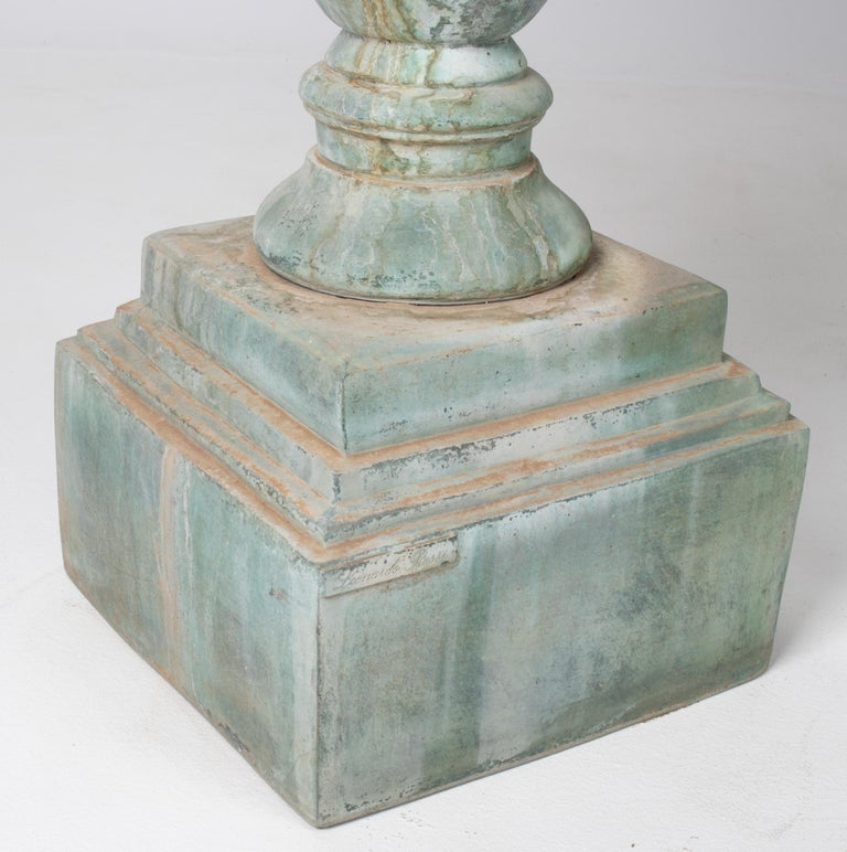 1990s Pair of Classical Bronze Garden Urns For Sale 1