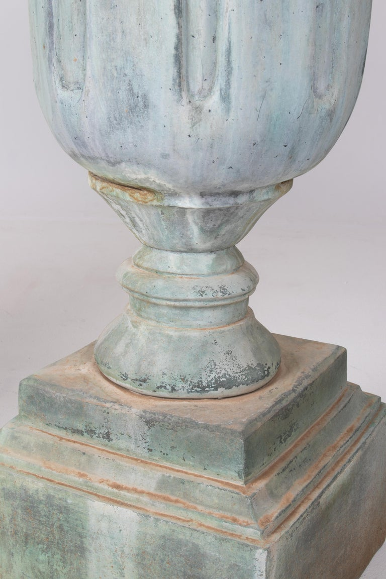 1990s Pair of Classical Bronze Garden Urns For Sale 2