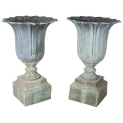 1990s Pair of Classical Bronze Garden Urns