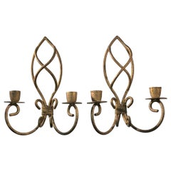 1990s Pair of Double Arm French Wrought Iron Candle Sconces